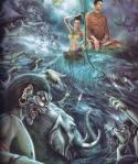 พระยามารกรีธาพลมาขับไล่ แม่พระธรณีบิดพระเกศา เกิดเป็นสมุทรธารา พระยามารก็พ่ายแพ้แก่พระบารมี