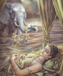 พระนางสิริมหามายาทรงสุบินนิมิต ได้มีช้างเชือกหนึ่งลงมาจากยอดเขาสูง เข้ามาหา